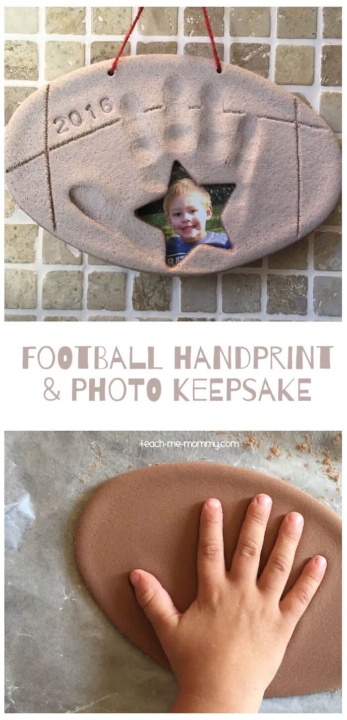 Football Handprint and Photo Keepsake by Teach Me Mommy