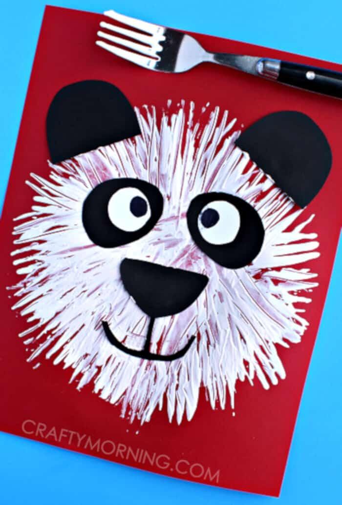 Fork-Print-Panda-Bear-Kids-Craft-by-Crafty-Morning
