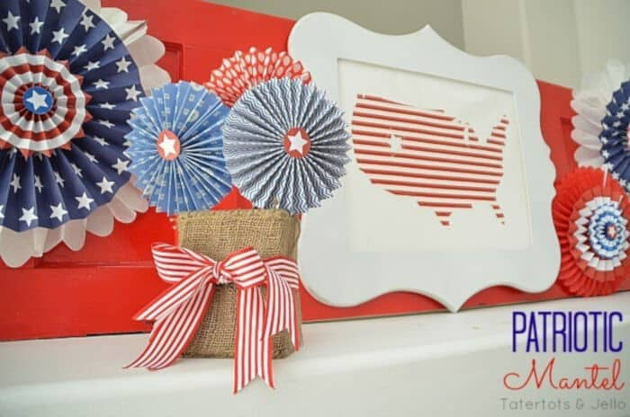 Fourth of July Patriotic Mantel by Tatertots and Jello