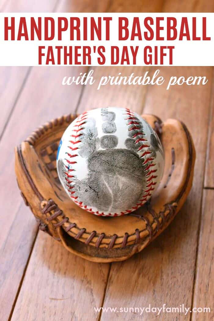 Handprint Baseball Fathers Day Gift by Sunny Day Family