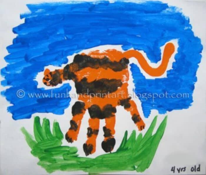 Handprint-Tiger-Craft-by-Fun-Handprint-Art