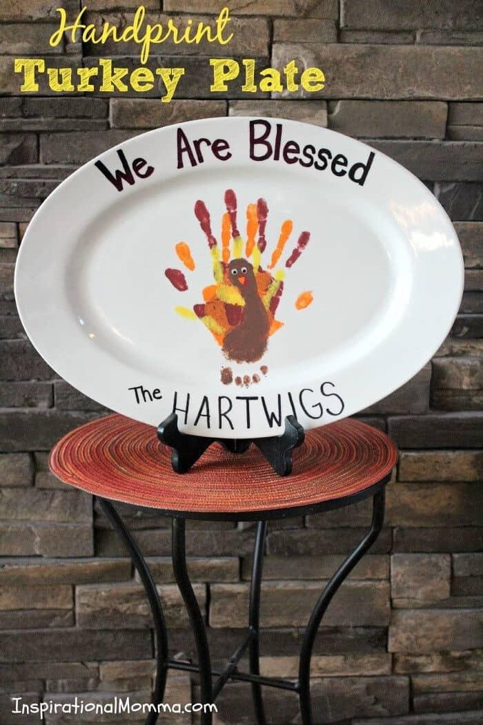 Handprint Turkey Plate by Inspirational Momma