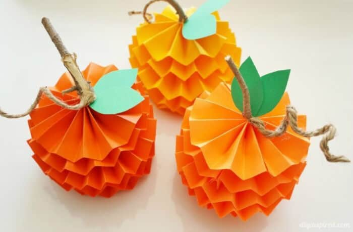 How to Make Paper Pumpkins for Fall by DIY Inspired