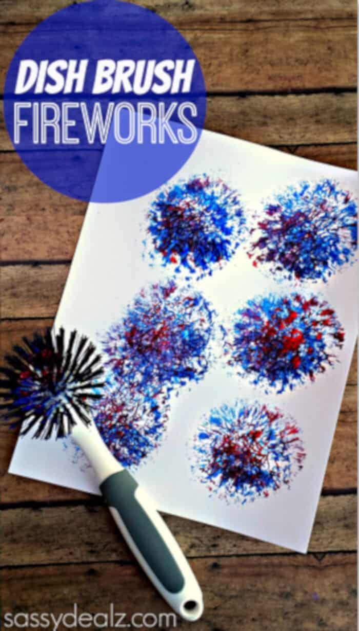 Kids Fireworks Craft Using a Dish Brush by Crafty Morning