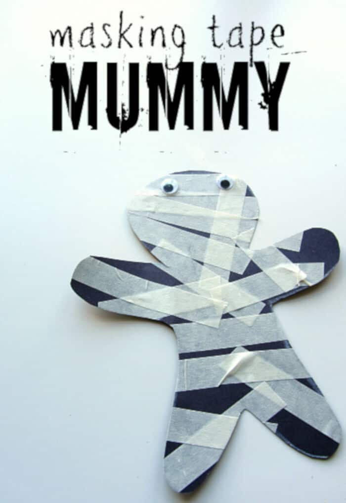Masking Tape Mummy Halloween Craft by No Time For Flash Cards