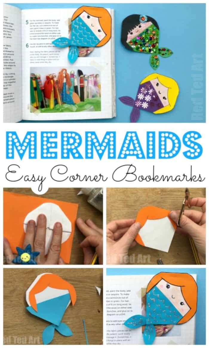 Mermaid-Corner-Bookmark-Design-by-Red-Ted-Art