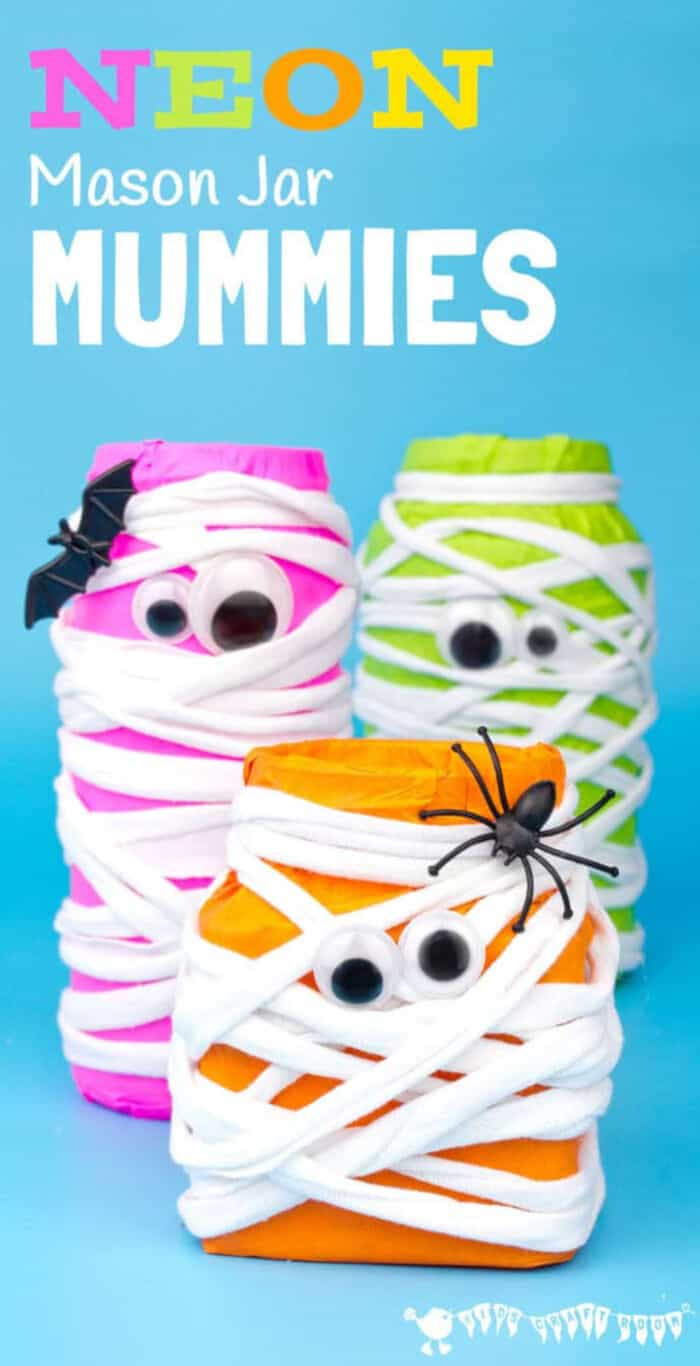 Neon Mason Jar Mummies by Kids Craft Room