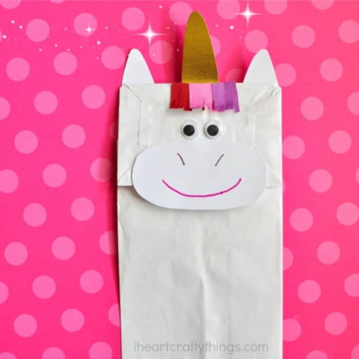 Paper Bag Unicorn Craft by I Heart Crafty Things
