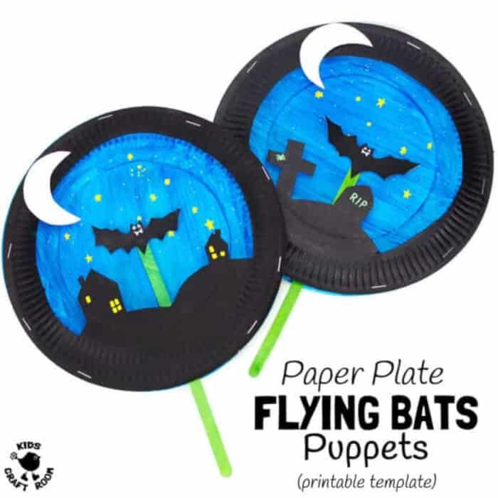 Paper Plate Bat Puppet Craft by Kids Craft Room