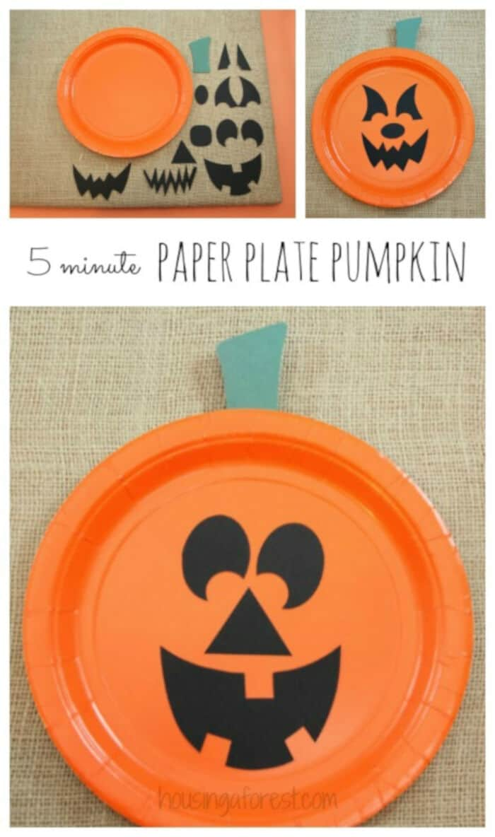 Paper Plate Pumpkins by Housing a Forest