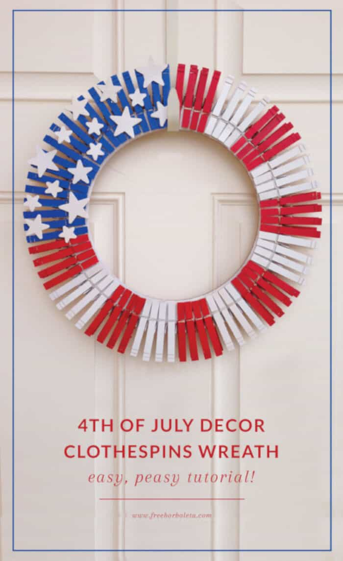 Patriotic Decor – Clothespins Wreath by 259 West