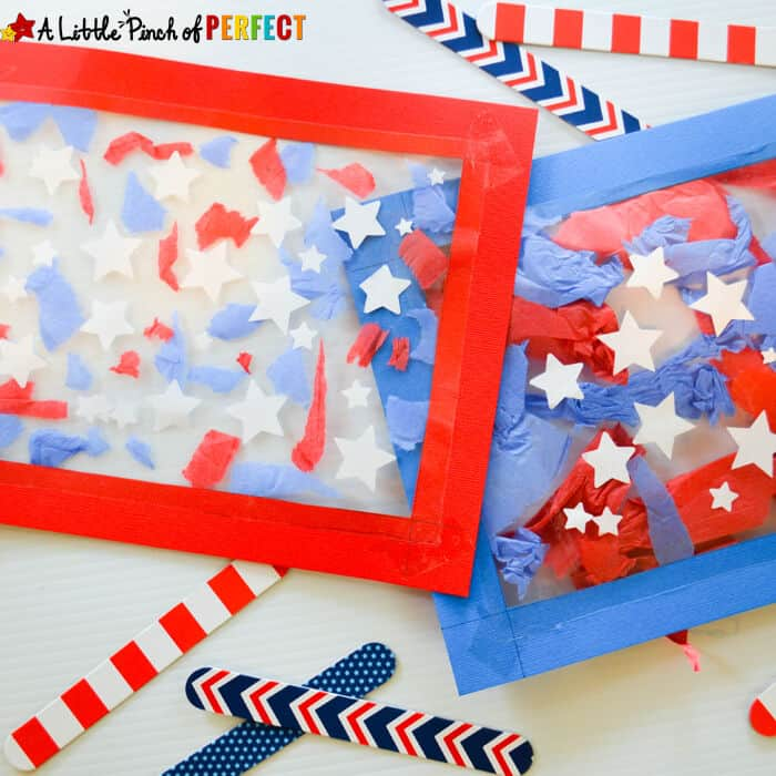 Patriotic Suncatcher Kids Craft by A Little Pinch of Perfect