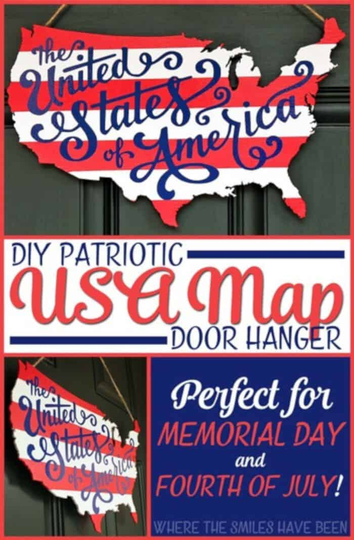 Patriotic USA Map Wooden Door Hanger by Where The Smiles Have Been