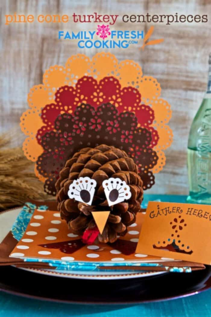 Pine Cone Turkey Centerpieces by Marla Meredith