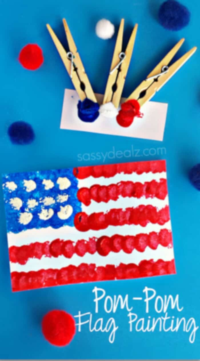 Pom-Pom American Flag Painting Craft by Crafty Morning
