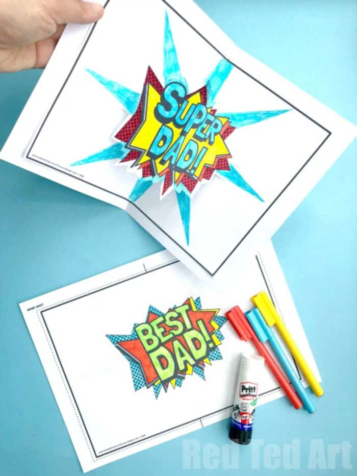 Pop Up Best Dad Card Printable by Red Ted Art