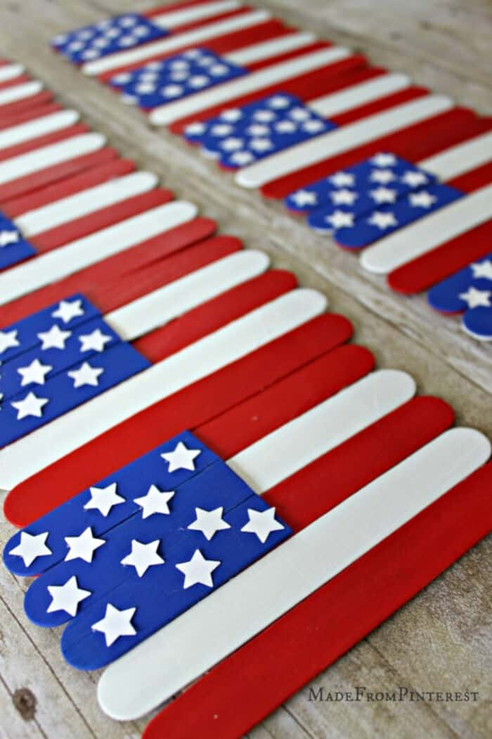 Popsicle Stick Flag Craft by Giggles Galore