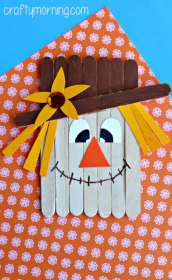 Popsicle Stick Scarecrow Craft for Kids by Crafty Morning