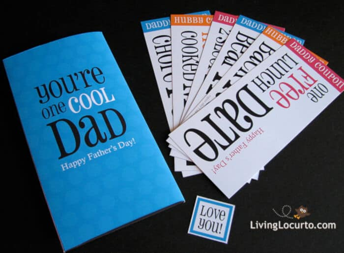 Printable Fathers Day Card and Coupons by Living Locurto