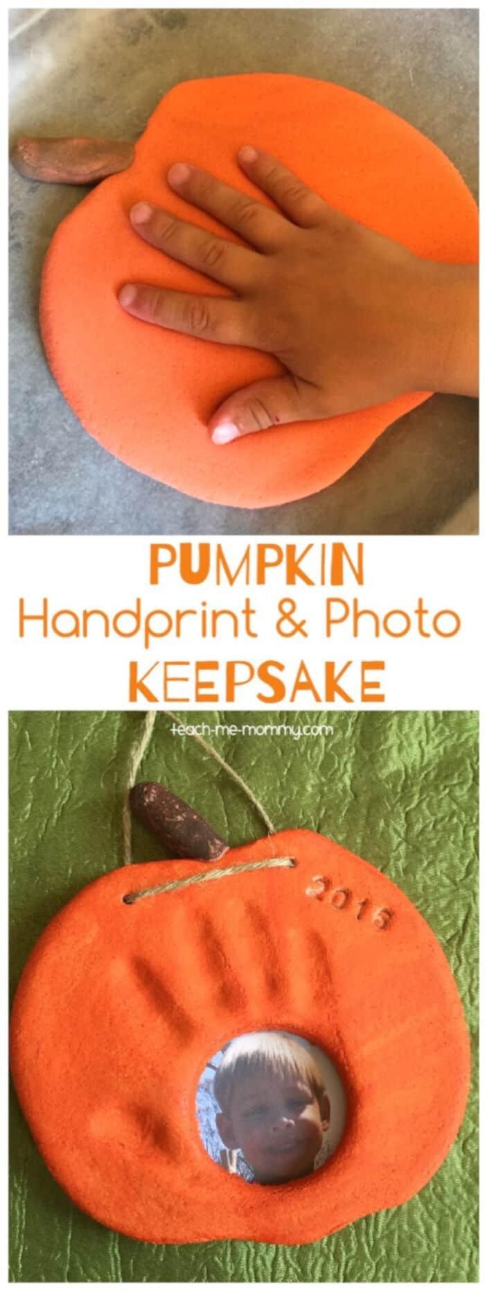 Pumpkin Handprint & Photo Keepsake by Teach Me Mommy