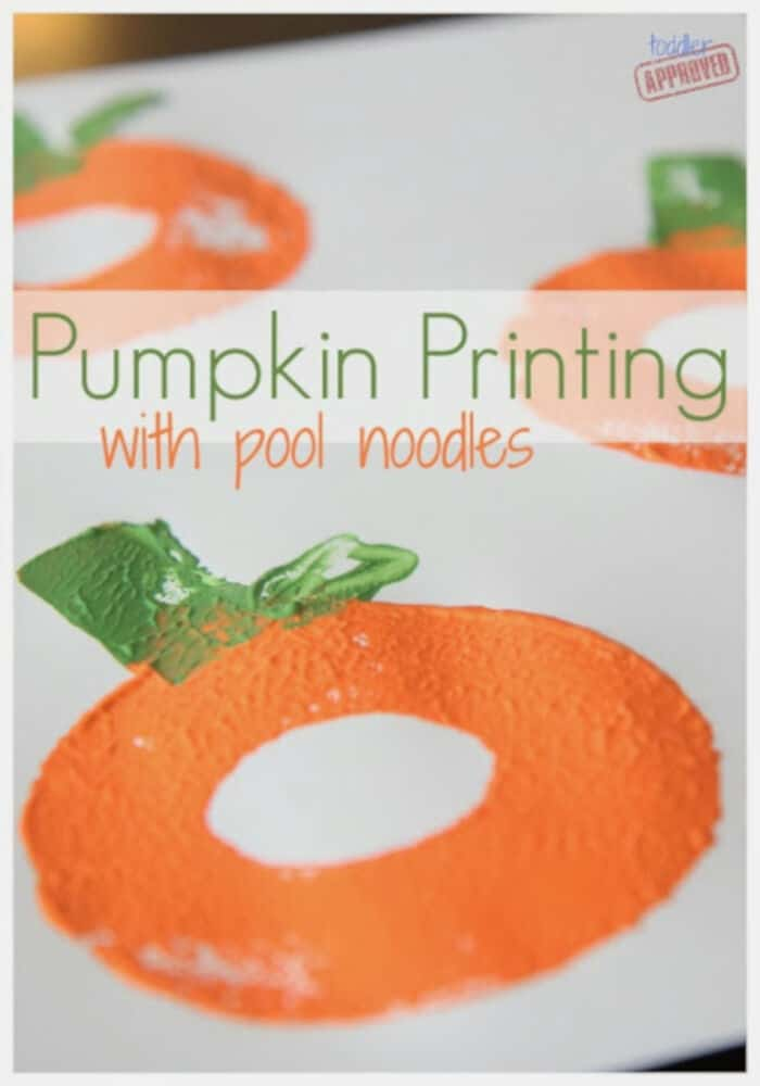 Pumpkin Printing with Pool Noodles by Toddler Approved