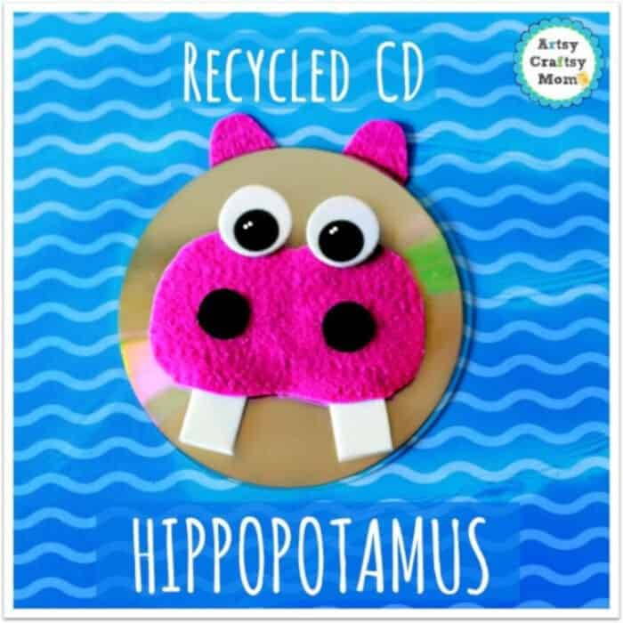 Recycled-CD-Hippopotamus-Craft-by-Artsy-Craftsy-Mom