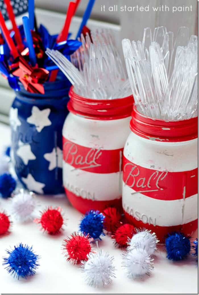 Red White Blue Mason Jars by It All Started With Paint