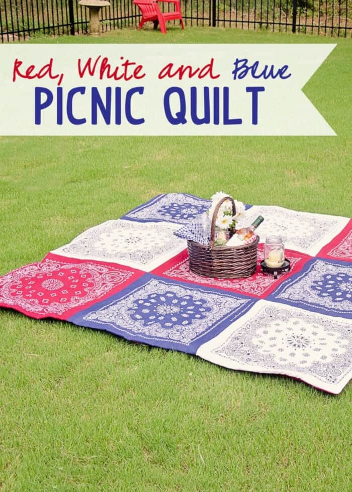 Red White and Blue Bandana Quilt by Scattered Thoughts of a Crafty Mom