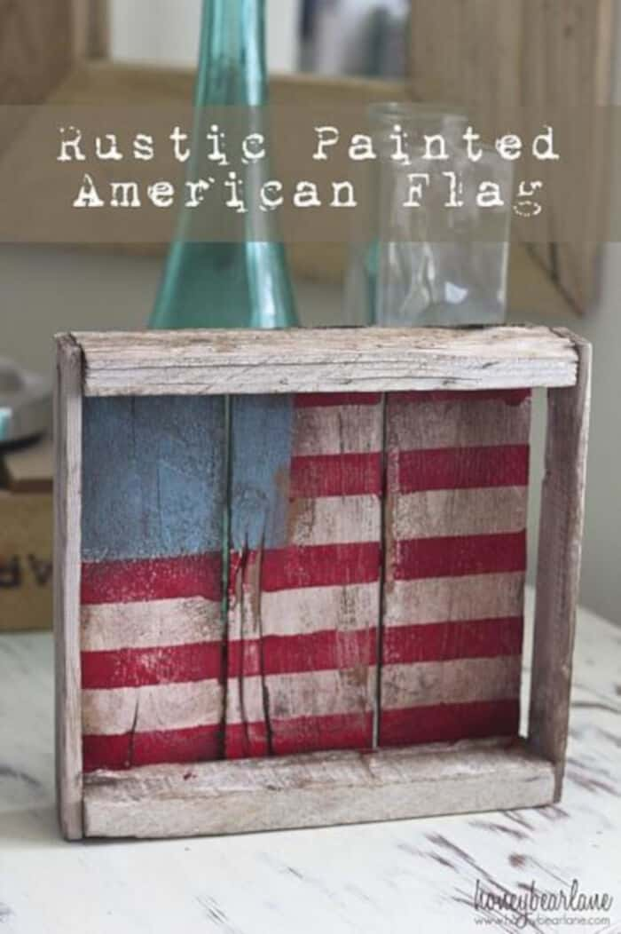 Rustic Painted American Flag by Deco Art