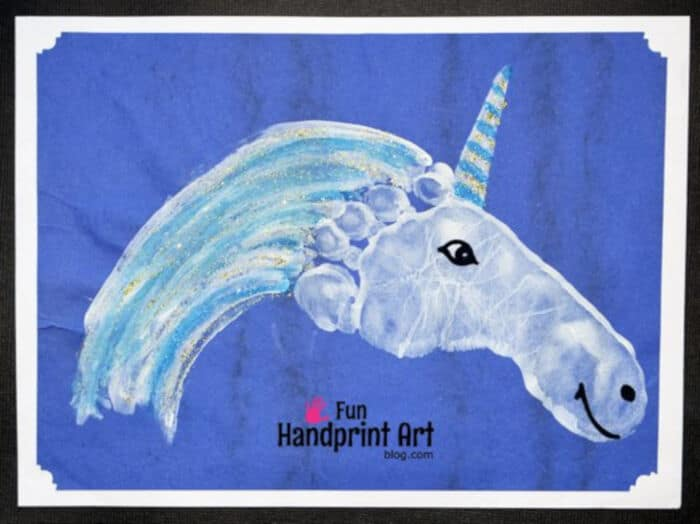 Sparkly Footprint Unicorn Craft by Fun Handprint Art