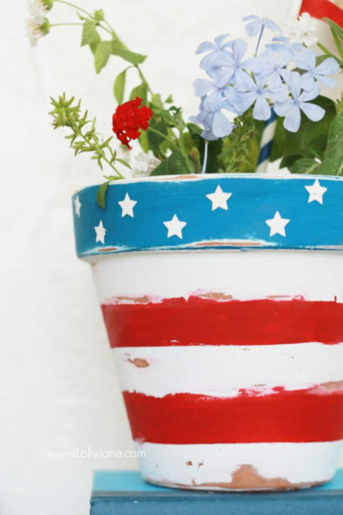 Stars Stripes Patriotic Flower Pot by Lolly Jane