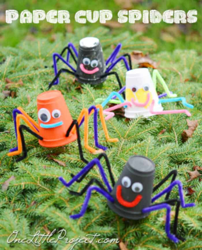 Styrofoam Cup Spiders by One Little Project