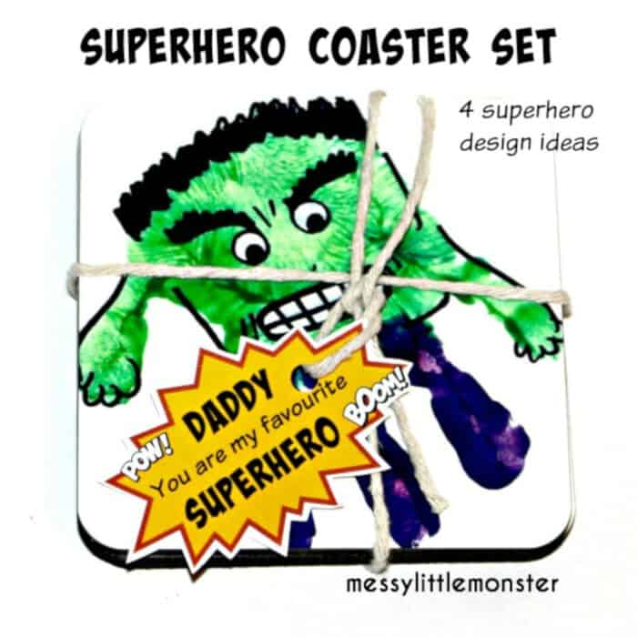 Superhero Handprint Coasters by Messy Little Monster