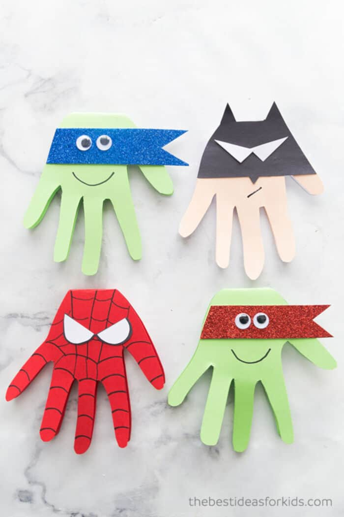 Superhero Handprints by The Best Ideas for Kids