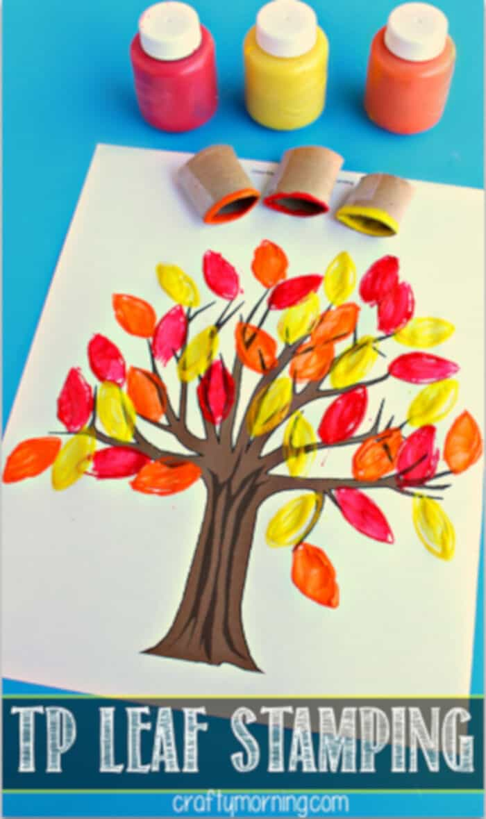 Toilet Paper Roll Leaf Stamping Fall Tree by Crafty Morning