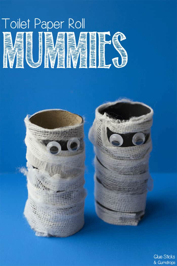 Toilet Paper Roll Mummy by Glue Sticks and Gumdrops