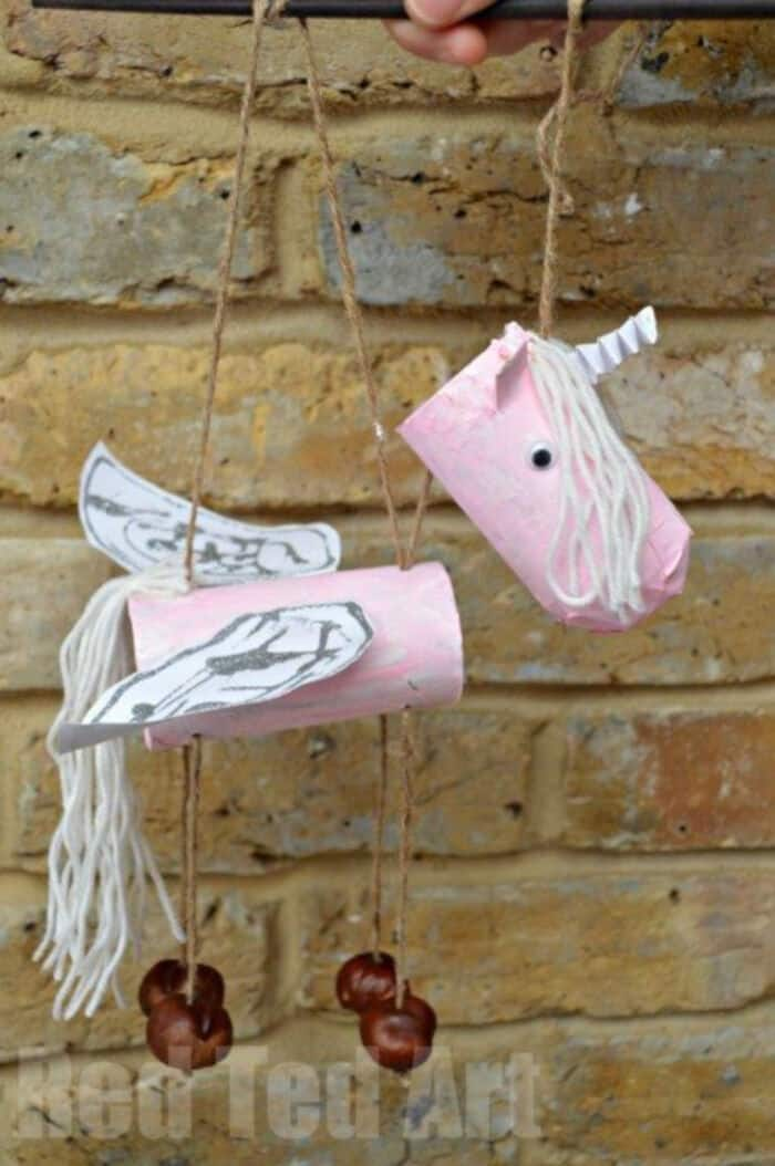 Toilet Paper Rolls Unicorn Marionette or Puppets by Red Ted Art