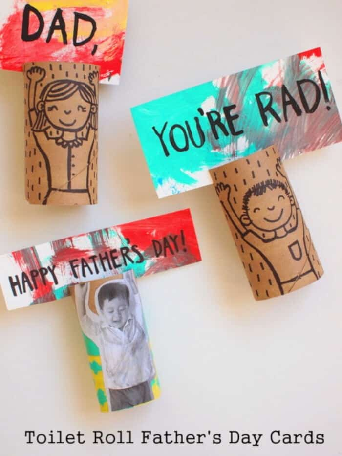 Toilet Roll Fathers Day Cards by Pink Stripey Socks