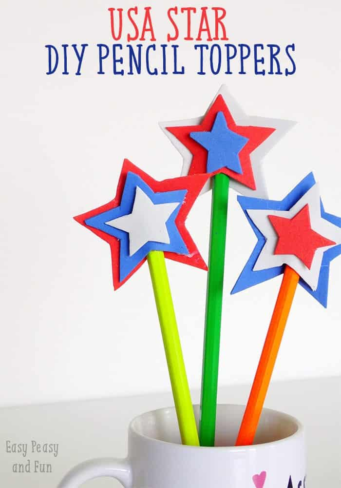USA Star DIY Pencil Topper by Easy Peasy and Fun