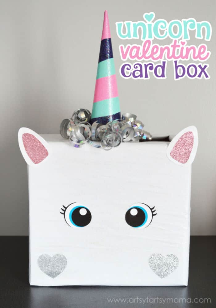Unicorn Valentine Card Box by Artsy Fartsy Mama