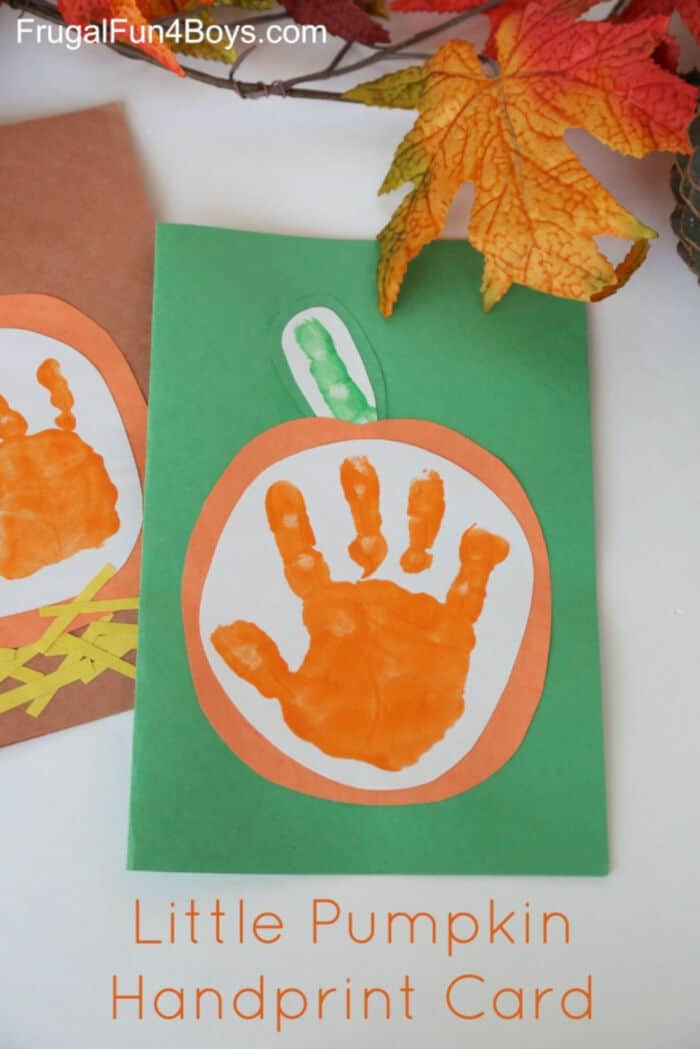 Little-Pumpkin-Kids-Handprint-Fall-Cards-by-Frugal-Fun-4-Boys-and-Girls