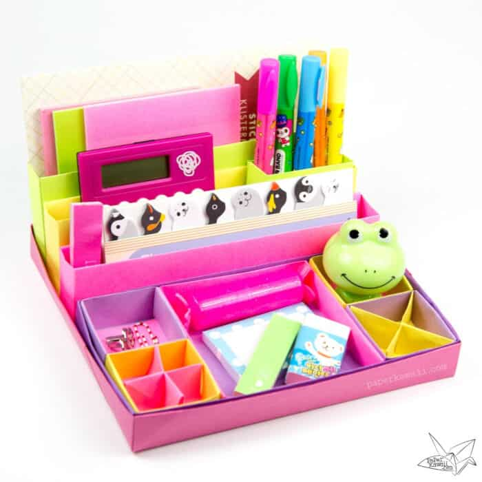 Origami-Desk-Organiser-Tutorial-by-Paper-Kawaii