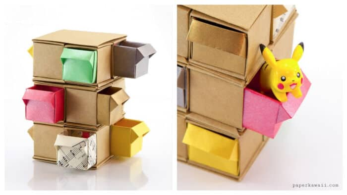 Origami-Tower-Of-Drawers-Tutorial-by-Paper-Kawaii