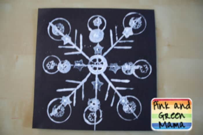 Snowflake-Printmaking-Project-Using-Found-Objects-by-Pink-and-Green-Mama