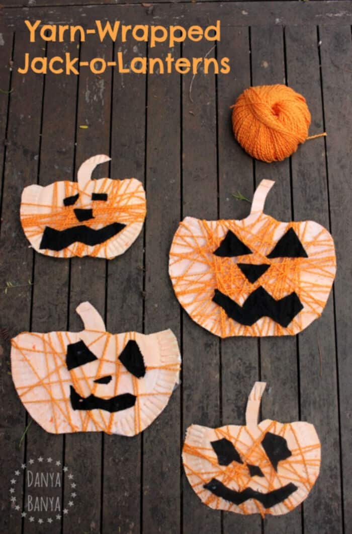 Yarn-Wrapped-Paper-Plate-Jack-o-Lantern-Craft-for-Halloween-by-Danya-Banya