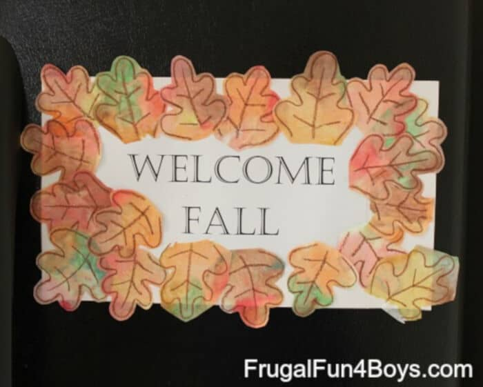 Welcome-Fall-Sign-with-Coffee-Filter-Leaves-by-Frugal-Fun-For-Boys-and-Girls